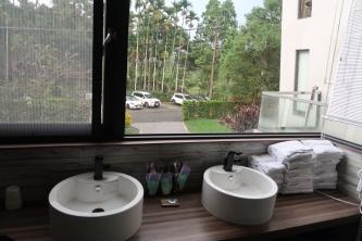 洗手槽看出去就是停車場
